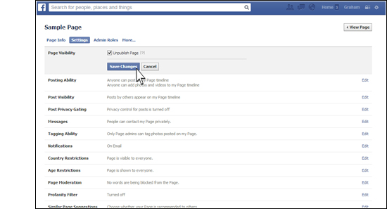 How to Unpublish a Facebook Page